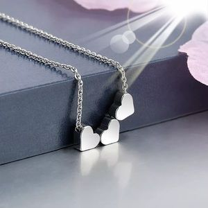Three silver Hearts Charm Necklace